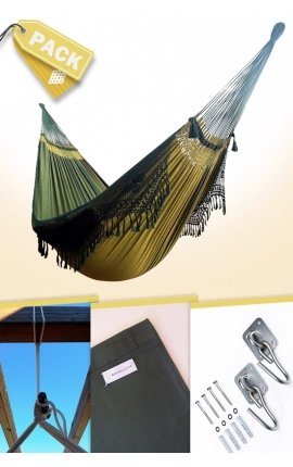 Pack Family-size Brazilian Hammock with a Green Design + Cushion + Attachments