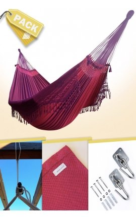 Pack Hamaca Colgante Familiar Brasileña de Diseño Fucsia+Accesorios