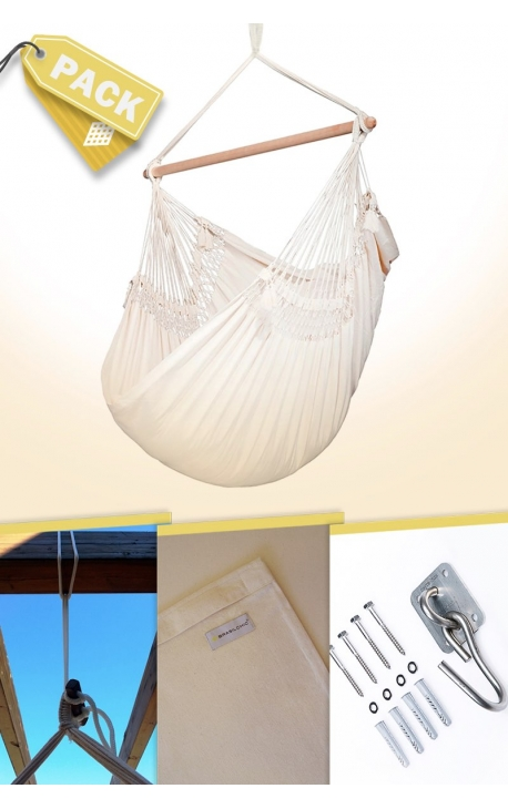 Pack Natural Brazilian Hanging Chair + Cushion + Attachments