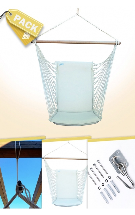 Pack Backed Natural Brazilian Hanging Chair + Cushion + Attachments