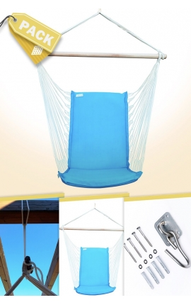 Pack Backed Turquoise Brazilian Hanging Chair + Cushion + Attachments