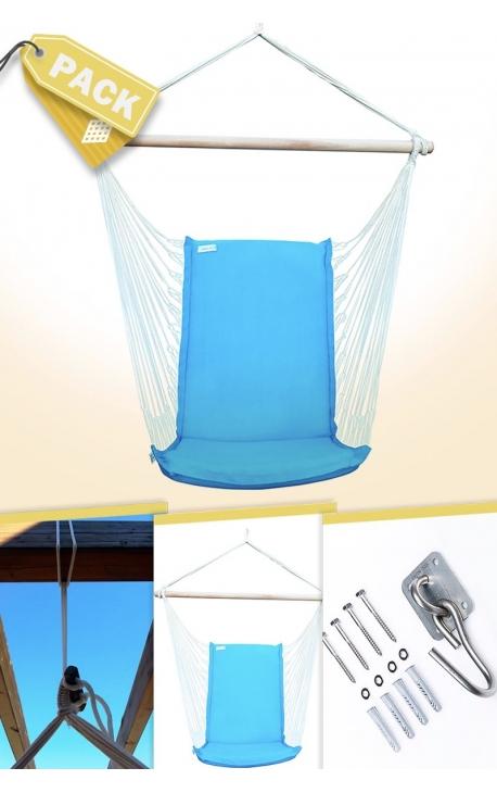 Silla Colgante Brasileña Azul Turquesa con Respaldo