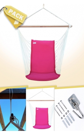 Pack Backed Pink Brazilian Hanging Chair + Cushion + Attachments