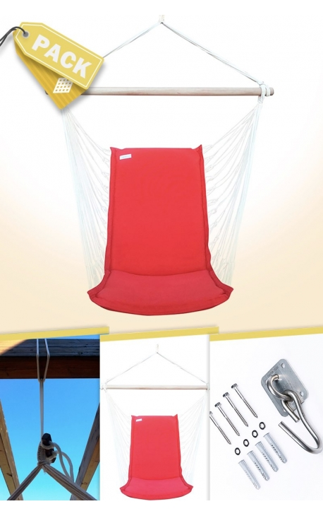 Pack Backed Red Brazilian Hanging Chair + Cushion + Attachments