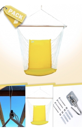 Pack Backed Yellow Brazilian Hanging Chair + Cushion + Attachments