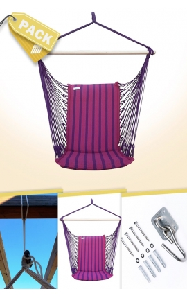Pack Backed Fuchsia Brazilian Hanging Chair + Cushion + Attachments