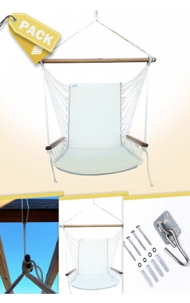 Pack Natural Brazilian Backed Hanging Armchair + Attachments