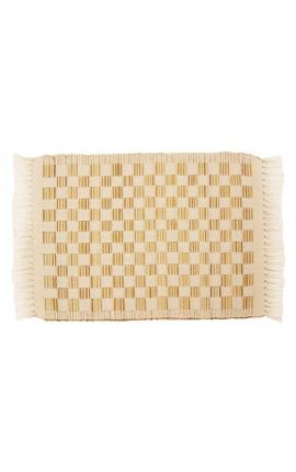 Manteles individuales artesanales de palitos de coco en tonos claros