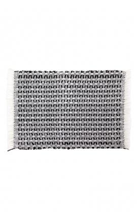 Manteles individuales artesanales de algodón color blanco y negro