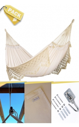 Pack Two-person Soft Natural Brazilian Hammock + Cushion + Attachments