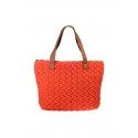 Orange eco-friendly crochet bag - Shopping style