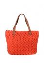 Bolso de crochet naranja ecológico - Estilo shopping