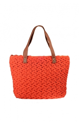 Orange eco-friendly crochet bag - Shopping style