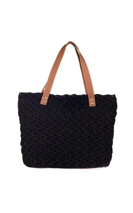 Bolso de crochet negro ecológico - Estilo shopping