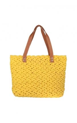 Bolso de crochet amarillo ecológico - Estilo shopping