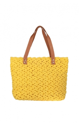 Yellow eco-friendly crochet bag - Shopping style